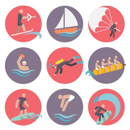 wakeboarding: Water sports flat icons set with skiing sailboat wakeboarding isolated vector illustration