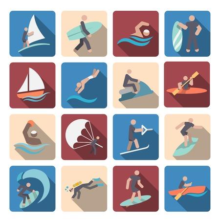 waterpolo: Actividad extrema iconos pictograma coloreado verano Deportes acu�ticos conjunto aislado ilustraci�n vectorial Vectores