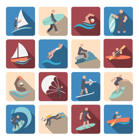 Water sports summer extreme activity colored pictogram icons set isolated vector illustration Vector