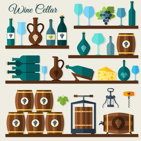 Wine cellar decorative icons set of grape winery corkscrew vector illustration Vector