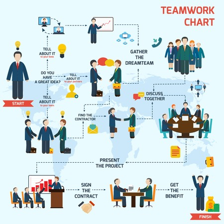 entreprises: Travail d'équipe ensemble infographie avec des avatars d'affaires et carte du monde illustration vectorielle