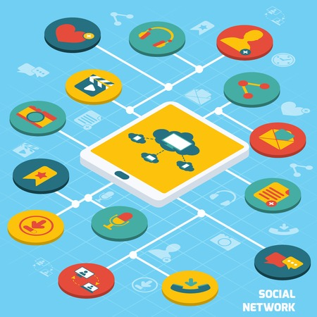 software design: Social network concept with tablet and isometric application buttons set vector illustration Illustration