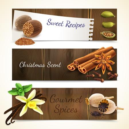 christmas scent: Especias gourmet dulce receta navidad olor banners horizontales establecen aislado ilustraci�n vectorial Vectores
