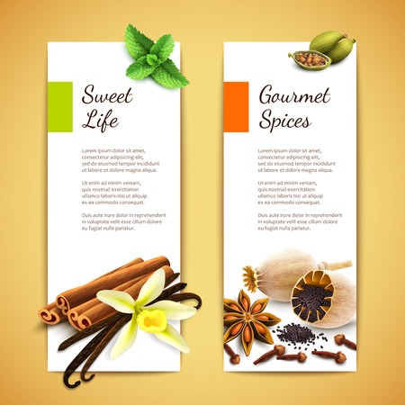scent: Gourmet spices sweet life vertical banners set isolated vector illustration Illustration