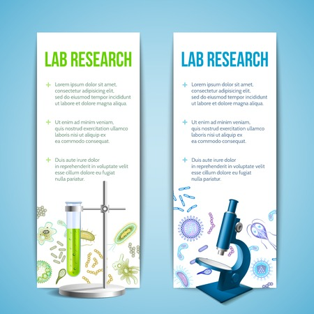 bacteria microscope: Bacteria and virus lab research vertical banners with test tube and microscope isolated vector illustration