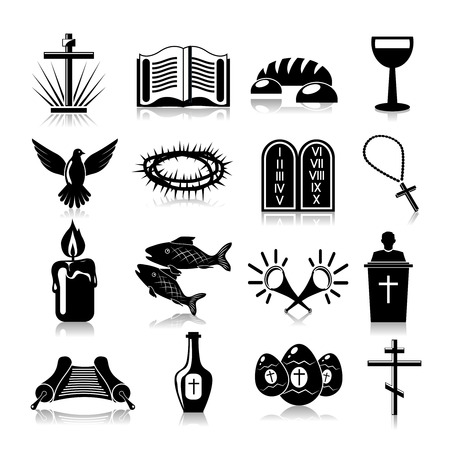 pasqua cristiana: Cristianesimo simboli religiosi tradizionali icone in bianco insieme isolato illustrazione vettoriale
