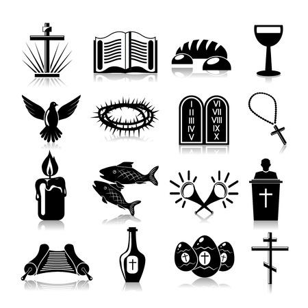 pez cristiano: Cristianismo s�mbolos religiosos tradicionales iconos negros fijaron aislado ilustraci�n vectorial