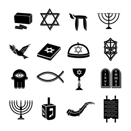 judaism: Juwish church traditional religious symbols black icons set isolated vector illustration