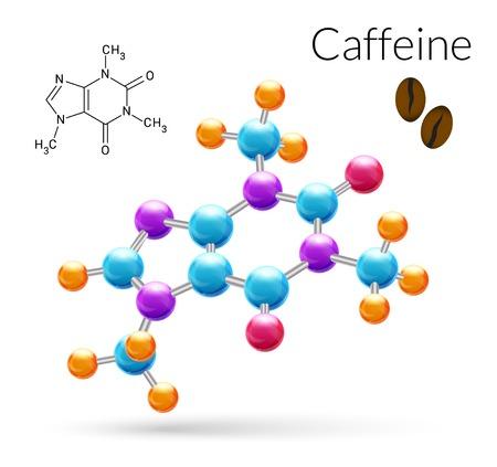 Koffein 3D molekula kémiai tudomány atomi szerkezete plakát vektoros illusztráció