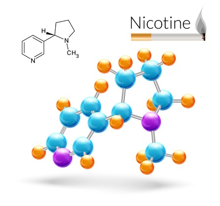 nicotine: Nicotine 3d molecule chemical science atomic structure and cigarette poster vector illustration