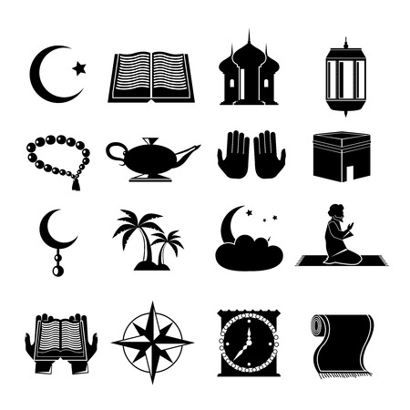 praying: Islamic church muslim spiritual traditional symbols black icons set isolated vector illustration