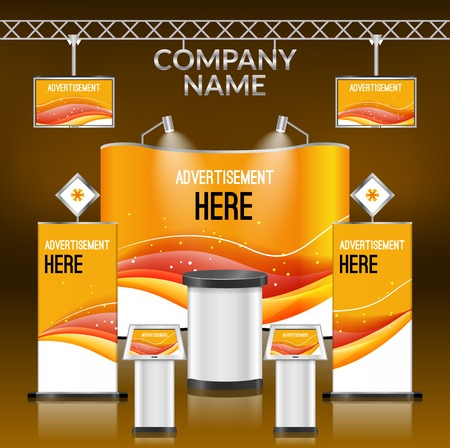 promotions: Exhibition advertising promotion stand orange design layout template vector illustration
