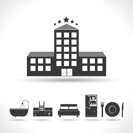 Five stars hotel concept with black amenities icons isolated vector illustration Vector