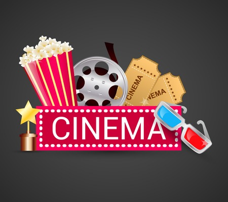 Cinema ticket filmstrip award icons elements movie concept vector illustration