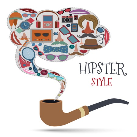 Hipster style concept with geek urban fashion elements and accessories icons in smoking pipe vector illustration Vector