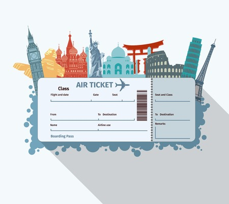 Airplane travel ticket with world famous landmarks icons vector illustration Çizim