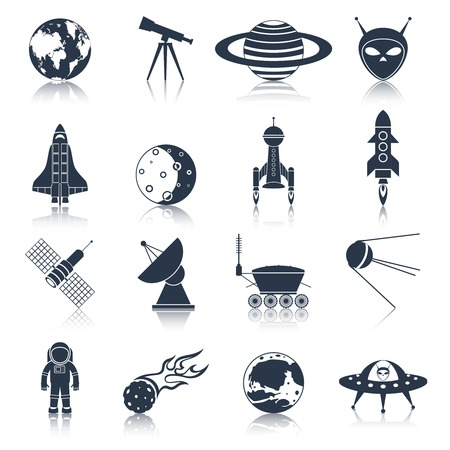 Space and astronomy black icons set with globe telescope alien isolated vector illustration Ilustrace