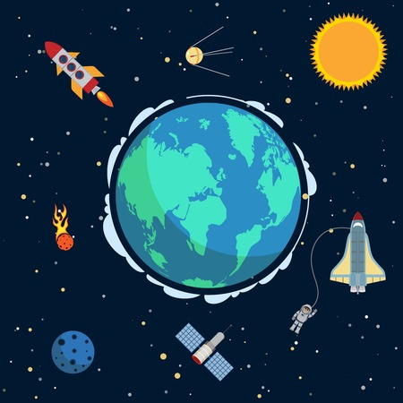 Earth in space poster with globe and spacecrafts and  satellites on orbit vector illustration