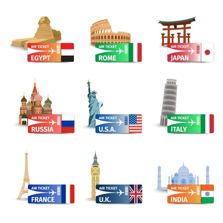 World famous landmarks with travel airplane ticket icons set isolated vector illustration Vectores