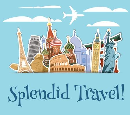 reizen: Wereldoriëntatiepunten sticker pictogrammen die met hemel plakboek achtergrond vector illustratie Stock Illustratie