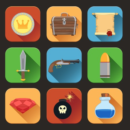 game gun: Game resources play elements flat icons set of chest  shield sword isolated vector illustration Illustration