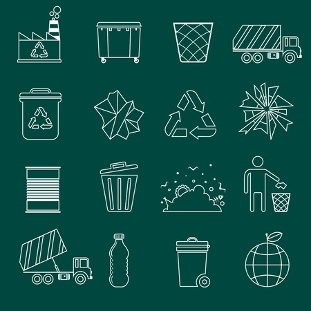 Garbage recycling icons outline set of landfill truck bottle isolated vector illustration Vector