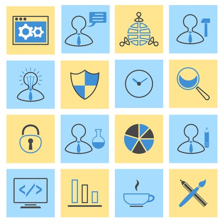 search optimization: SEO mobile computer network website search optimization flat icons set isolated vector illustration Illustration