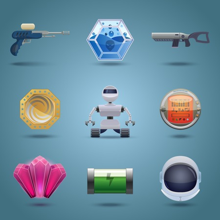 game play: Space computer game play elements icons set isolated vector illustration Illustration