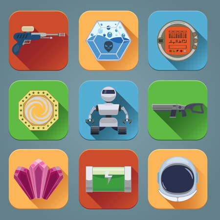 game play: Space computer game play menu elements flat icons set isolated vector illustration Illustration