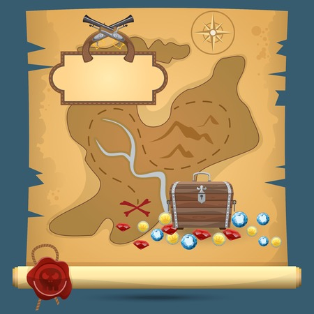 Old quest adventure pirate treasure paper map vector illustration
