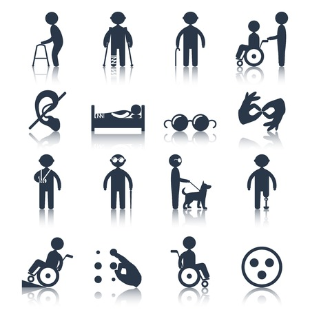persona en silla de ruedas: Las personas con discapacidad se preocupan iconos de asistencia e instalaciones negro conjunto aislado ilustraci�n vectorial