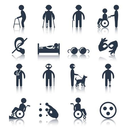Mensen met een handicap zorg iconen bijstand en faciliteiten zwarte set geïsoleerde vector illustratie