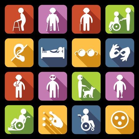 discapacidad: Las personas con discapacidad ayudan iconos planos conjunto aislado ilustraci�n vectorial