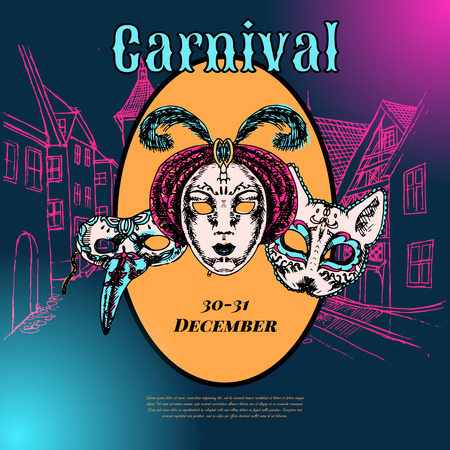 New year eve carnival event show advertising poster with venetian style paper mache masks color vector illustration Vector