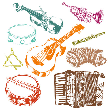 Classic musical concert instruments icons set of key accordion fiddle drum color doodle sketch vector isolated illustration Stock Illustratie