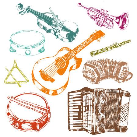 geigen: Klassische Musikkonzertinstrumente Icons Set von Schl�ssel Akkordeon Geige Trommel Farbe Doodle Sketch Vektor isolierte Darstellung