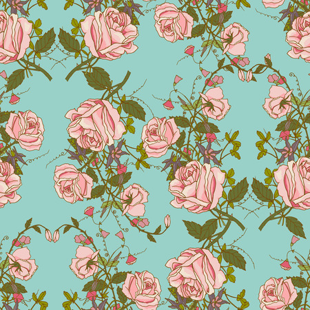 sweet pea: Vintage nostalgic beautiful roses bunches composition romantic floral wedding gift wrapping paper seamless pattern color vector illustration