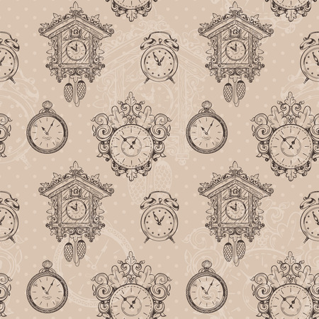 Old vintage clock and stopwatch sketch seamless pattern vector illustration Vector