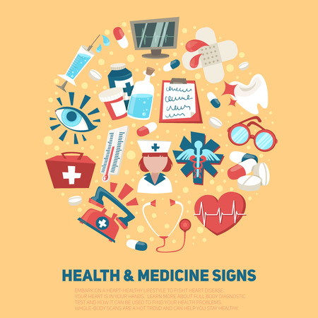 hospital icon: Hospital medical and ambulance signs composition health care concept vector illustration Illustration