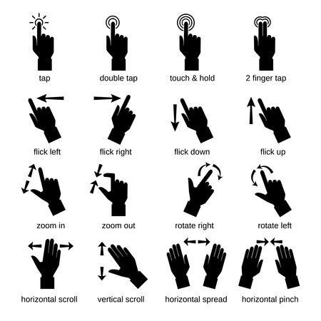 gestes de la main de l'interface tactile icônes noires définies isolée illustration vectorielle
