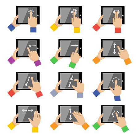 swipe: Hand holding tablet device gestures icons set isolated vector illustration