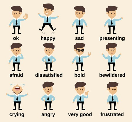 Businessman cartoon character emotions set isolated vector illustration Çizim