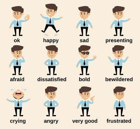 Businessman cartoon character emotions set isolated vector illustration Illustration