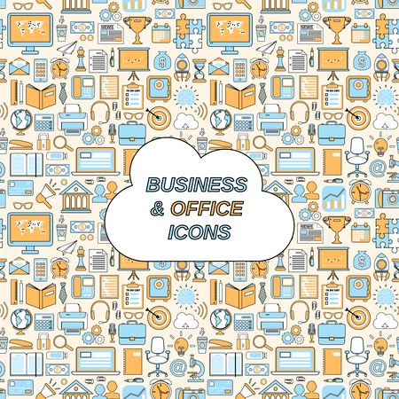 workday: Business and office icons seamless pattern vector illustration