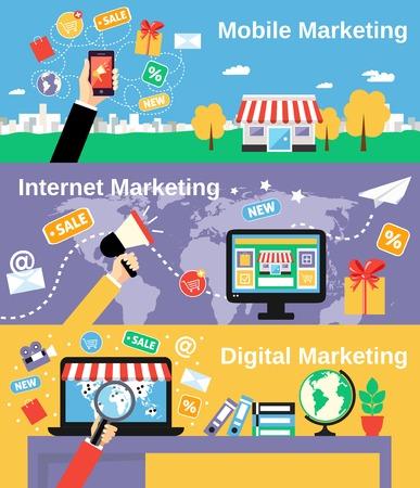 internet movil: M�viles de marketing en Internet de l�nea de banners digitales conjunto aislado ilustraci�n vectorial Vectores