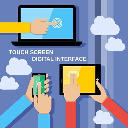 人間の手は、コンピューターの画面携帯電話に触れると通信ガジェット ベクトル イラストを保持設定します。