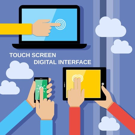 Human hands set holding touching mobile phones screens computer and communication gadgets vector illustration