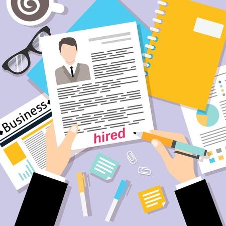 trabajo: Concepto de la entrevista de trabajo con el cv de negocio ilustraci�n vectorial hoja de vida
