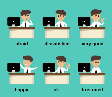 Uomo d'affari alla scrivania dell'ufficio cartoni animati emozioni set di caratteri, illustrazione vettoriale
