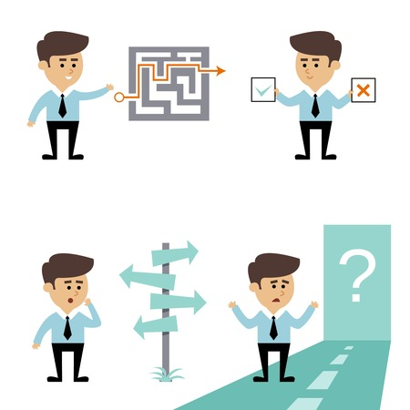 hard way: Businessman search decision concept with man with labyrinth puzzle and crossroads vector illustration Illustration